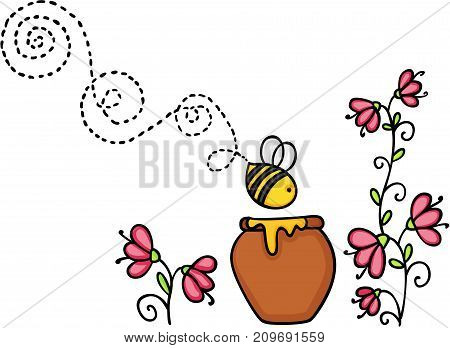 Scalable vectorial image representing a bee flying with honey pot and flower, isolated on white.