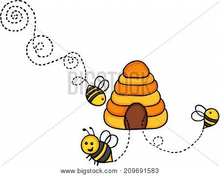 Scalable vectorial image representing a bees fly out of a beehive, isolated on white.