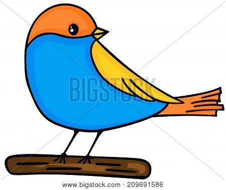 Scalable vectorial image representing a cute bird on wooden, isolated on white.