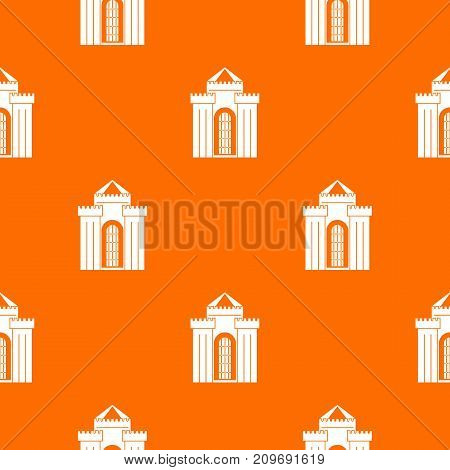 Medieval palace pattern repeat seamless in orange color for any design. Vector geometric illustration