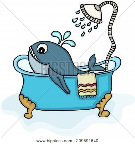 Scalable vectorial image representing a little whale in bathtub with shower, isolated on white.