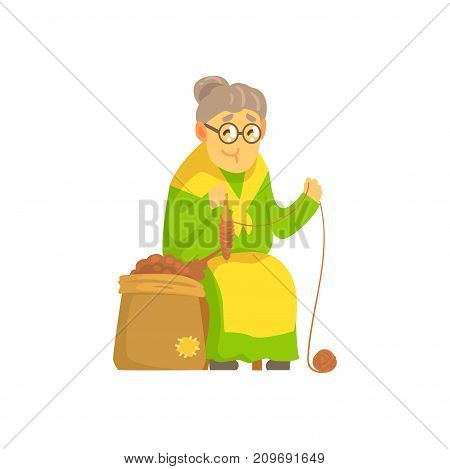 Cute old lady in green dress and yellow apron sitting on chair and spinning ball of wool yarn. Cartoon grandmother with glasses character. Vector illustration in flat isolated on white background.