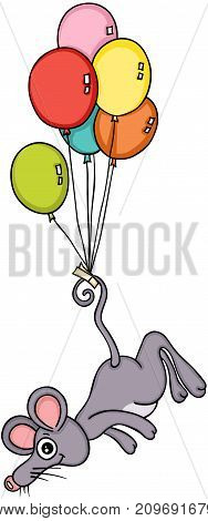 Scalable vectorial image representing a mouse flying with balloons, isolated on white.