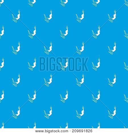 Female aerialist pattern repeat seamless in blue color for any design. Vector geometric illustration