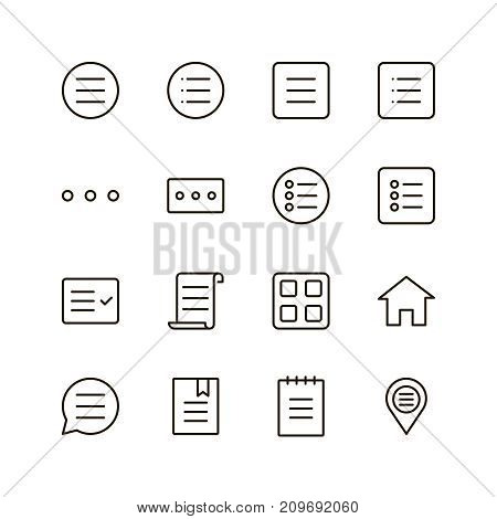 Menu icon set. Collection of high quality outline list pictograms in modern flat style. Black information symbol for web design and mobile app on white background. Navigation line logo.