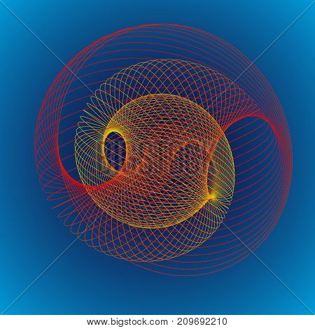Modern abstract vector illustration. Colorful digital futuristic linear shape. Beauty of complex contemporary technologies. Geometric background with radiant round swirl. Element of design.