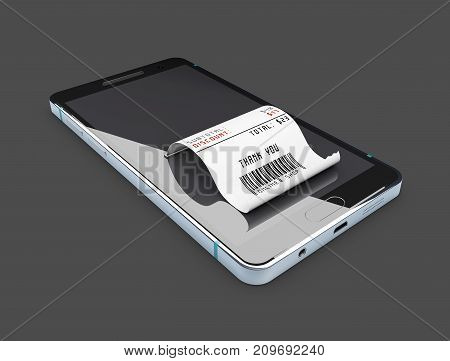 Online Shopping Concept. Smartphone With Credit Card. 3D Illustration, Isolated Black