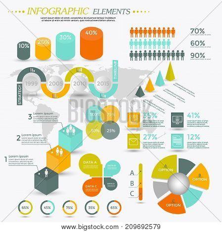 Infographic Elements Collection for presentation booklet website diagram banner number options workflow layout or web design etc. Big set of Infographics. Timeline vector.