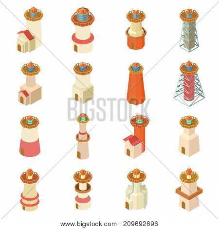 Lighthouse icons set. Isometric illustration of 16 lighthouse vector icons for web