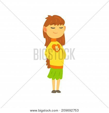 Cute little girl in knitted sweater with letter B on chest and green skirt. Child in warm winter clothes. Cartoon kid character. Vector illustration in flat style isolated on white background.