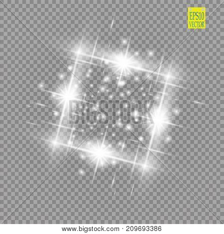 Abstract luxury white vector light flare spark light effect. Sparkling glowing square frame on transparent. Starlight moving background. Glow blurred space for message or logo. Vector illustration