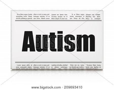 Health concept: newspaper headline Autism on White background, 3D rendering