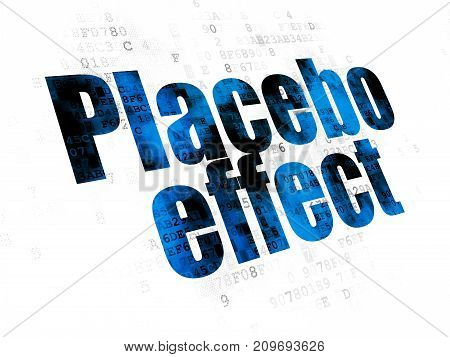 Health concept: Pixelated blue text Placebo Effect on Digital background