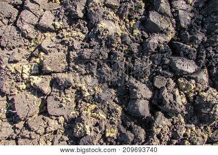 Clumps of wet dark plowed land from above closeup