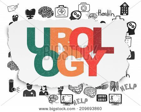 Health concept: Painted multicolor text Urology on Torn Paper background with  Hand Drawn Medicine Icons