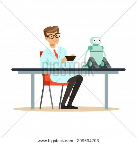 Young engineer tests the prototype of the robot. Man scientist at workplace does his work. Smart person cartoon character in lab coat. Robotics technology. Flat vector illustration isolated on white.