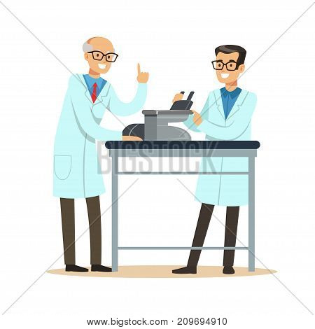 Old scientist professor and young assistant doing microscope research in the laboratory. Men at workplace. Smart person cartoon character in lab coat. Flat vector illustration isolated on white.