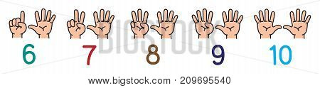 Icon set of hands and fingers for counting education from 6 to 10. Childrens vector illustration