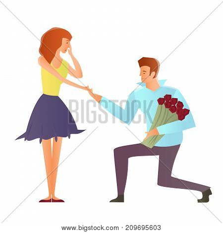 Young happy couples in love, man and woman. Man makes a proposal to his girlfriend, kneeling. Vector Illustration, isolated on white background.