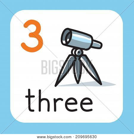 Education card 3. Telescope on tripod with three legs for learning counting from 1 to 10. Childrens vector illustration