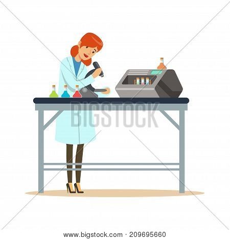 Doctor woman working with microscope and testing tubes in the laboratory. Female scientist at workplace. Smart person cartoon character in lab coat. Flat vector illustration isolated on white.