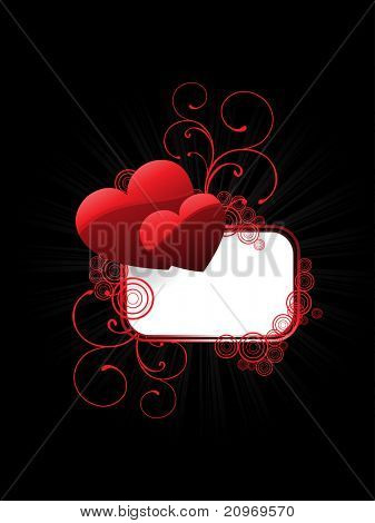 black background with decorated romantic frame