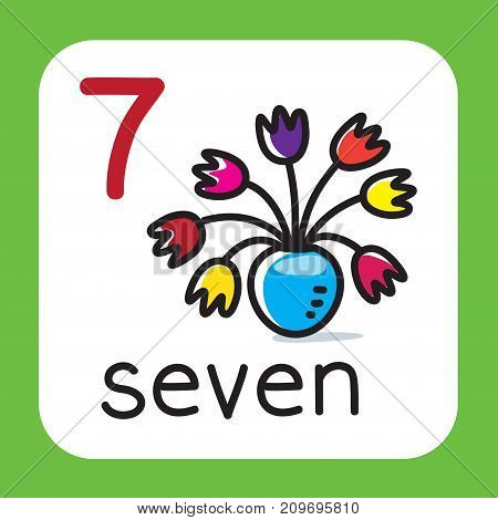 Education card 7. Boquet with seven flowers for learning counting from 1 to 10. Childrens vector illustration