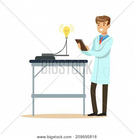 Scientist in modern laboratory conducting experiments with lamp bulb. Man with clipboard doing his work. Smart person cartoon character in lab coat. Flat vector illustration isolated on white.