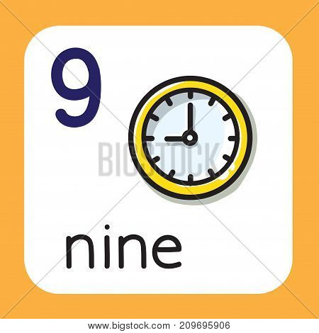 Education card 9. Clock with arrows that show on nine with for learning counting from 1 to 10. Childrens vector illustration