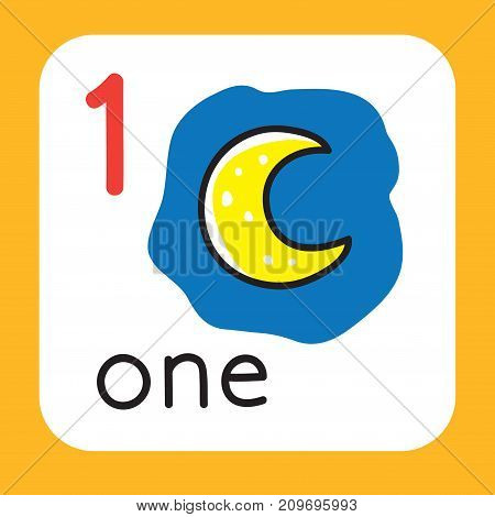 Education card 1. With one moon for learning counting from 1 to 10. Childrens vector illustration