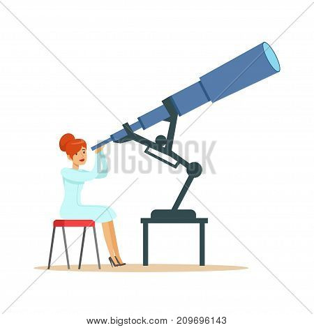 Woman astronomer looking through telescope. Astronomy concept. Female scientist at workplace studies natural science. Person cartoon character in lab coat. Flat vector illustration isolated on white.
