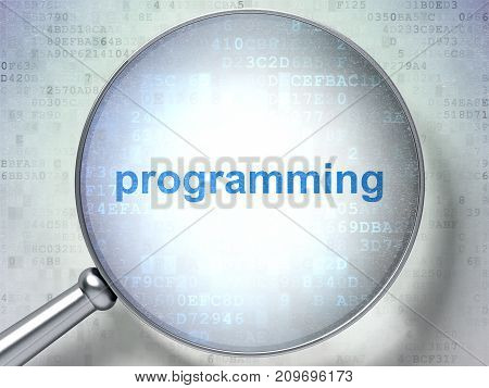Programming concept: magnifying optical glass with words Programming on digital background, 3D rendering