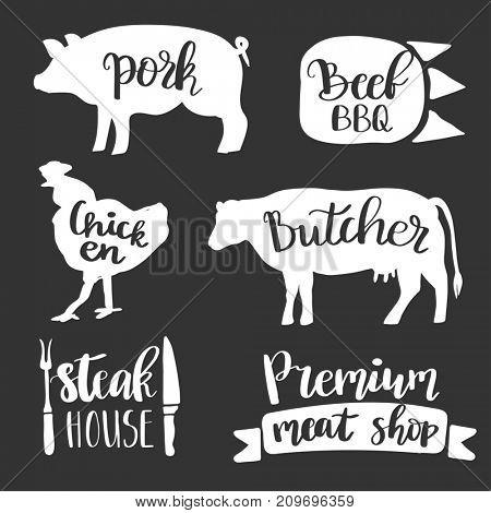 Vintage style set of retro badge, label, logo design templates for meat store, charcuterie, deli shop, butchery market, cafe or restaurant. Vector lettering design