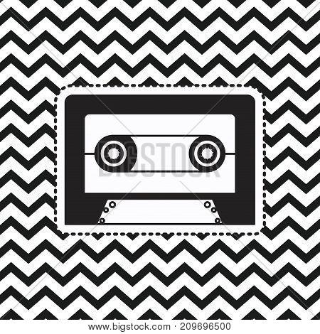 cassette sticker on pop art zig zag linear monochrome background vector illustration