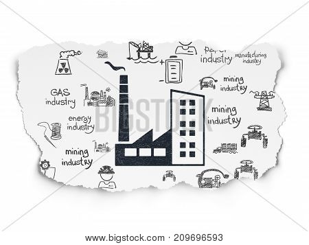 Manufacuring concept: Painted black Industry Building icon on Torn Paper background with  Hand Drawn Industry Icons