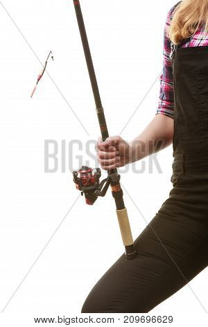 Woman Hand Holding Fishing Rod, Spinning Equipment