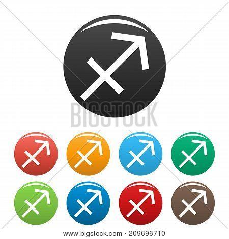 Sagittarius zodiac sign icons set. Vector simple illustration of Sagittarius zodiac sign icons background for any web design
