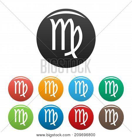 Virgo zodiac sign icons set. Vector simple illustration of Virgo zodiac sign icons background for any web design