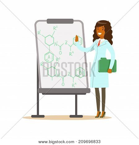 Chemist or biologist stands next to whiteboard with formula. Beautiful woman scientist at workplace doing work. Smart person cartoon character in lab coat. Flat vector illustration isolated on white.