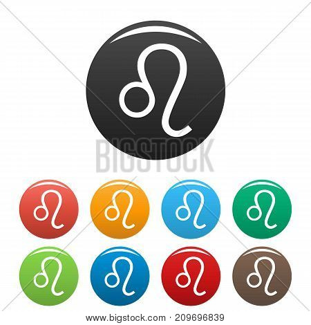 Leo zodiac sign icons set. Vector simple illustration of Leo zodiac sign icons background for any web design