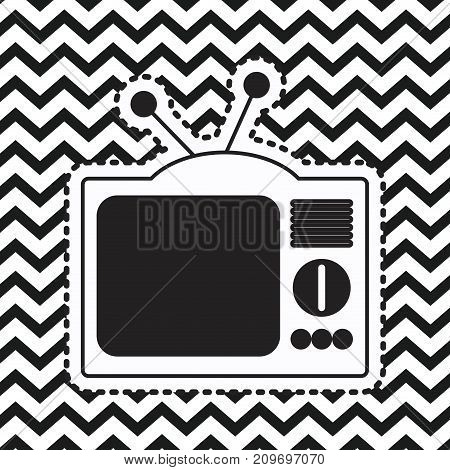 analog television sticker on pop art zig zag linear monochrome background vector illustration