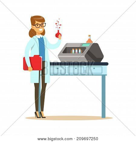 Woman scientist with chemical glass bulb in hand. Highly technological laboratory equipment with test tubes. Smart person cartoon character in lab coat. Flat vector illustration isolated on white.