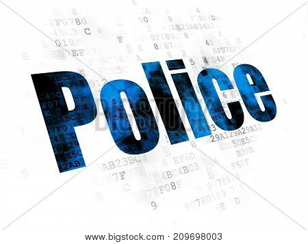 Law concept: Pixelated blue text Police on Digital background