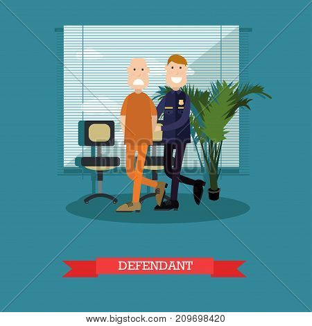 Vector illustration of security guard leading defendant or accused man with hands behind his back to the courtroom. Flat style design.