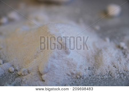 citric acid powder from the chemical kit with macro lens