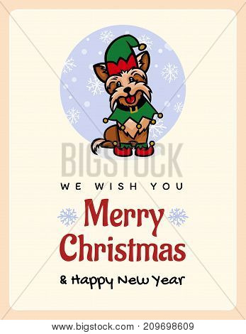 Yorkshire Terrier is a little assistant to Santa, congratulations on the new year 2018 and Christmas