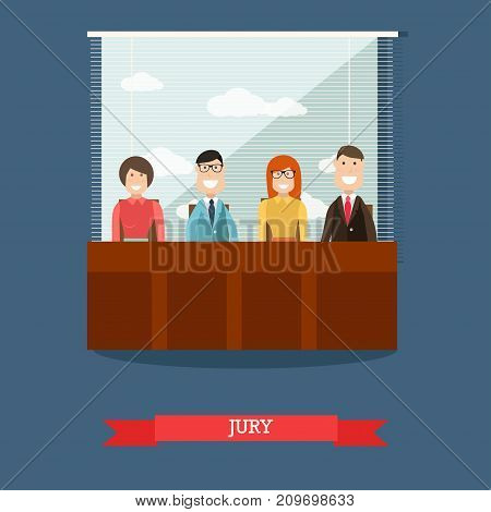 Vector illustration of group of people sitting at jury box during court hearing. Jury flat style design element.