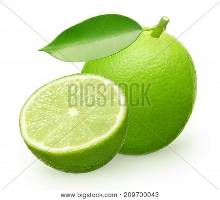 Whole Fresh Lime Fruit With Green Leaf And Half