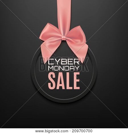 Cyber Monday sale round banner with pink ribbon and bow, on black background. Brochure or banner template. Vector illustration.