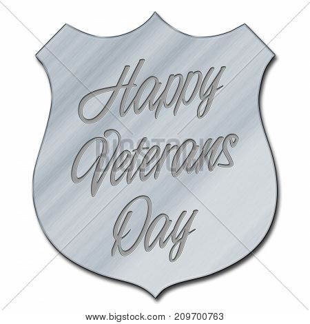 Happy Veterans Day, Steel plate, 3D Illustration, Honoring all who served, American holiday template.